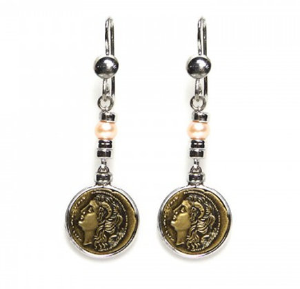 Didramma Coin Earrings - Bronze - Poseidon