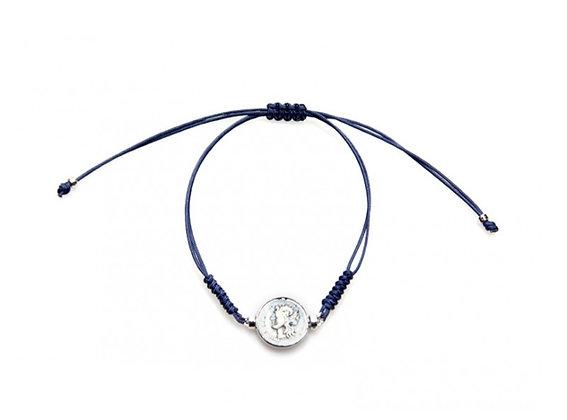 Didramma Unisex Bracelet - Navy Blue Rope - Silver - Mars