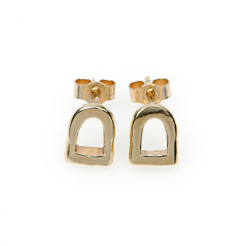 9ct Yellow Gold Stirrup Stud Earrings