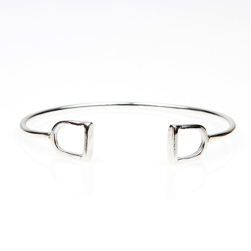 Sterling Silver Cuff Bangle with Dual Silver Stirrups
