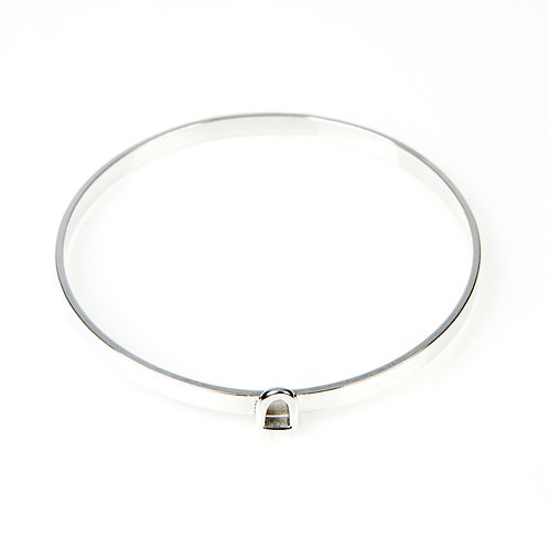 Sterling Silver Bangle with Fixed Silver Charm