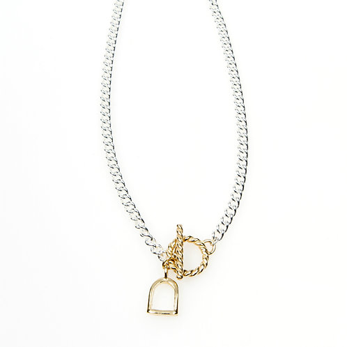 Chunky Sterling Silver Necklace with Gold T-Bar Clasp