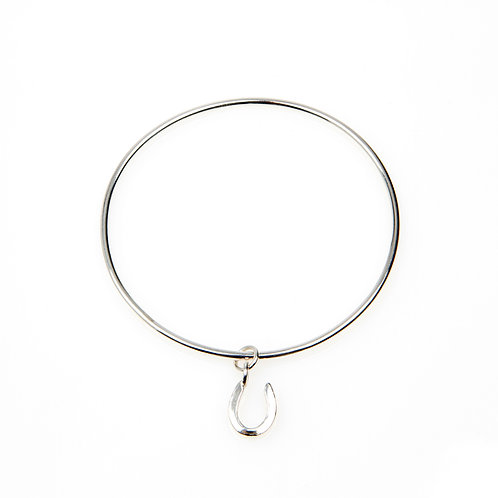 Sterling Silver Mini Bangle with Silver Charm