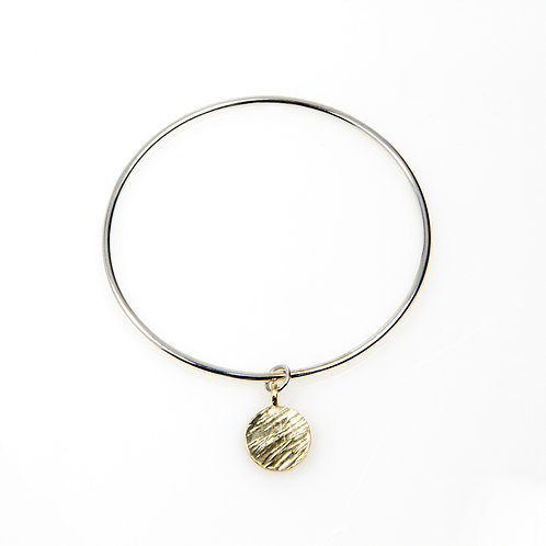 Sterling Silver Mini Bangle with 9ct Gold Disc