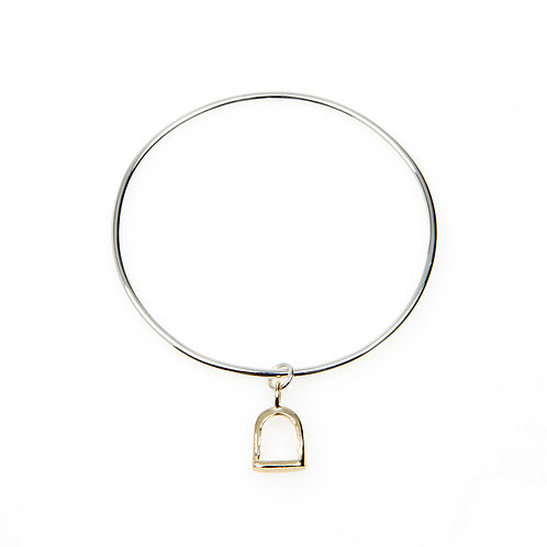 Sterling Silver Mini Bangle with 9ct Gold Charm