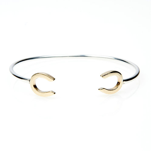 Sterling Silver Cuff Bangle with Dual 9ct Gold Horsehoes