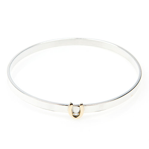 Sterling Silver Bangle with Fixed 9ct Gold Charm