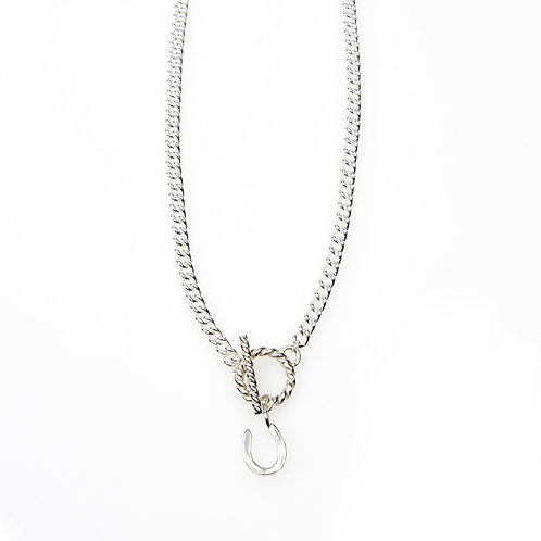 Chunky Sterling Silver Necklace with Silver T-Bar Clasp