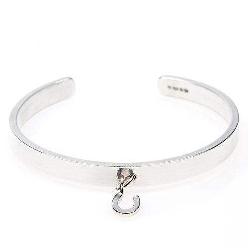 Sterling Silver Maxi Cuff Bangle with Silver Charm