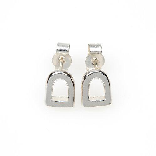 Sterling Silver Stirrup Stud Earrings