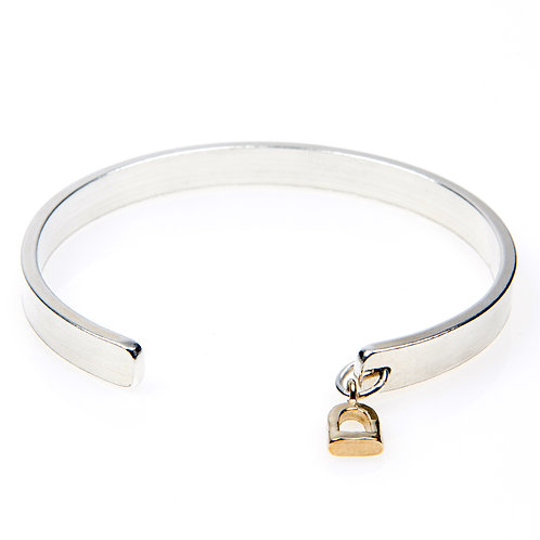 Sterling Silver Maxi Cuff Bangle with 9ct Gold Charm