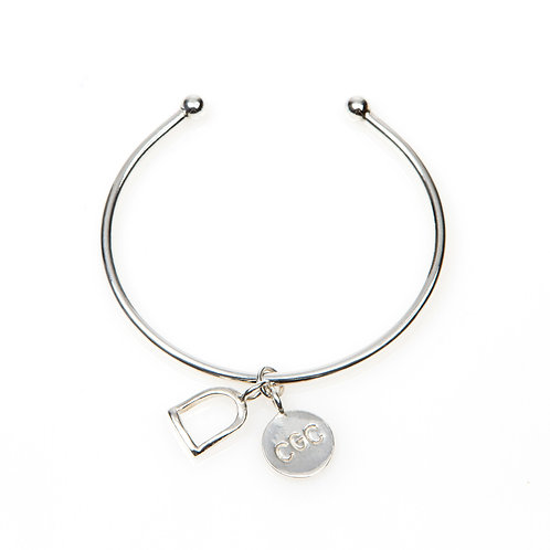 Sterling Silver Torque Charm Bangle