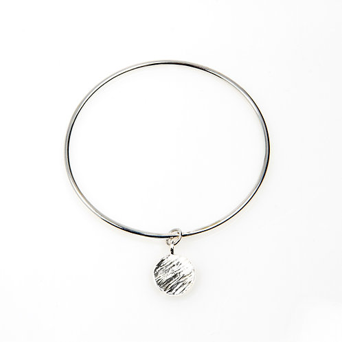 Sterling Silver Mini Bangle with Sterling Silver Disc