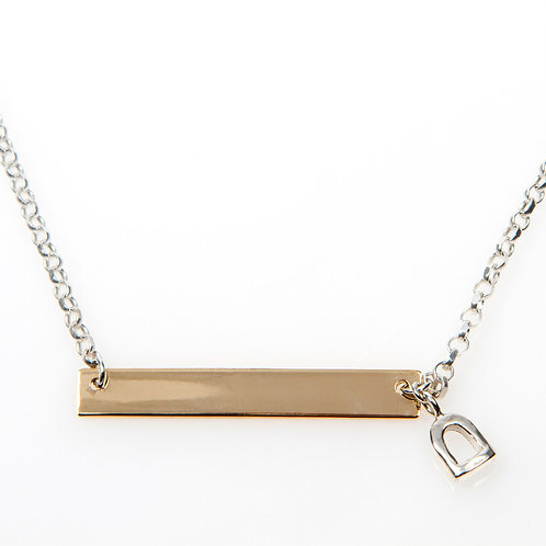 Sterling Silver Necklace with 9ct Yellow Gold Bar