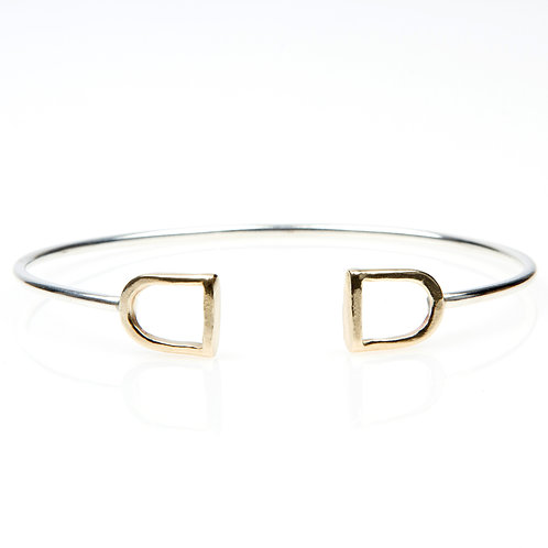 Sterling Silver Cuff Bangle with Dual 9ct Gold Stirrups