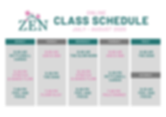 ZEN Class Schedule JULY AUG 2020 Graphic