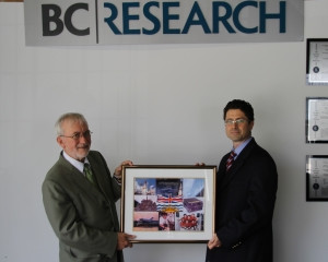 The first British Columbia flag to fly in space – for many years on display in the lobby of the old
