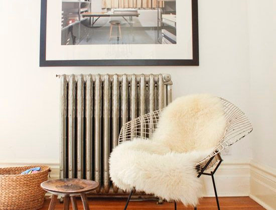 Sheepskin on Bertoia Diamond Chair