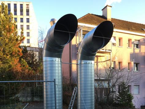 Riesige Fortluftleitung in Zürich