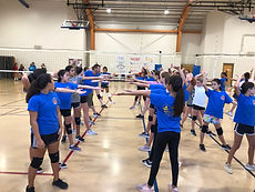 Volleyball team stretching