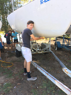 Nick helping clean our J24 Winsome