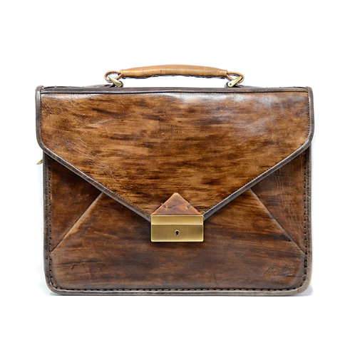 Monte 2 gusset briefcase ebony distressed