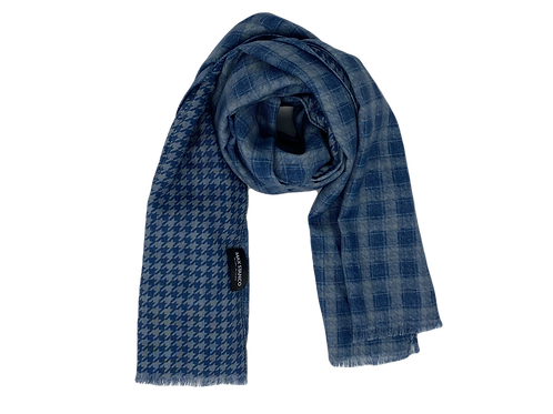 Double-Face Checkered Blue Scarf