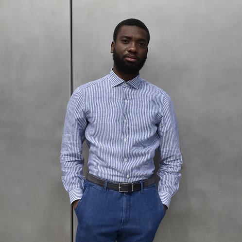Striped Blue Handsewn Washed Linen Shirt -Modern Fit