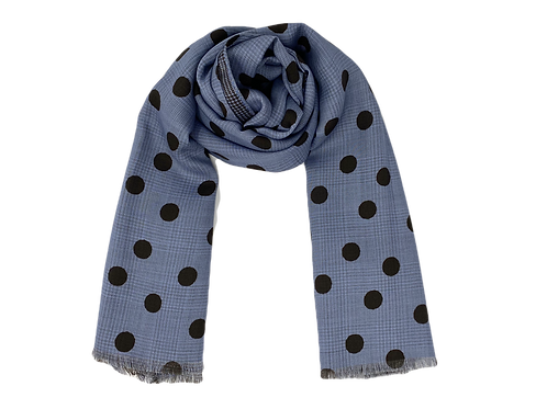 PolkaDots Blue Wool Silk Scarf