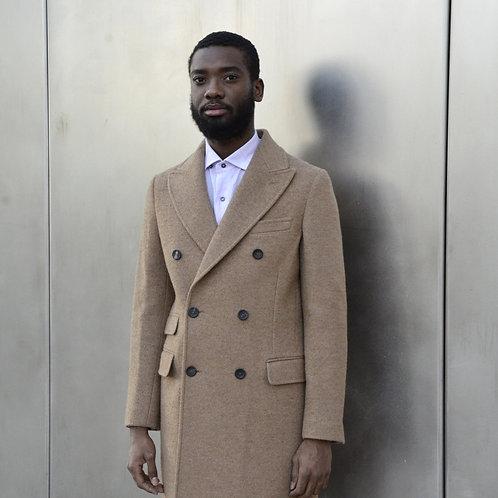 Alpaca Double Breasted Coat in Tan -Modern Fit-