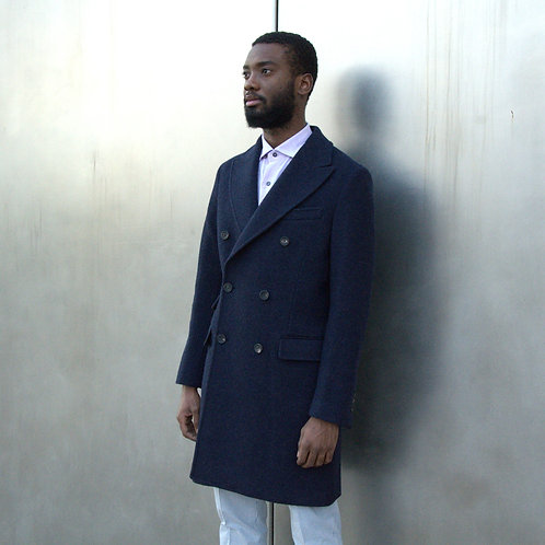 Alpaca Double Breasted Coat in Royal Blue -Modern Fit-