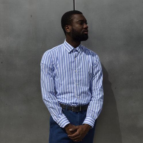 Wide Striped Celeste Cotton Shirt -Slim Fit-