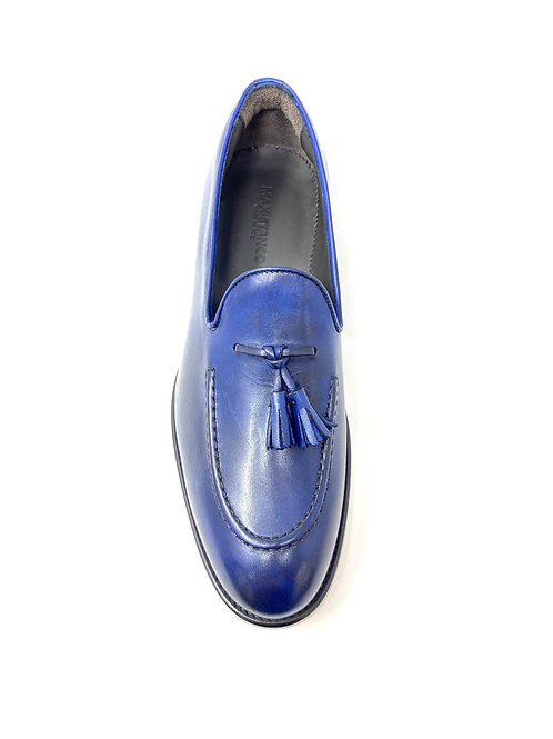 Blue Leather Penny Loafers