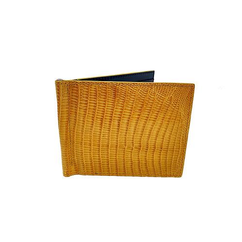Dollar clip card holder in genuine lizard/yellow