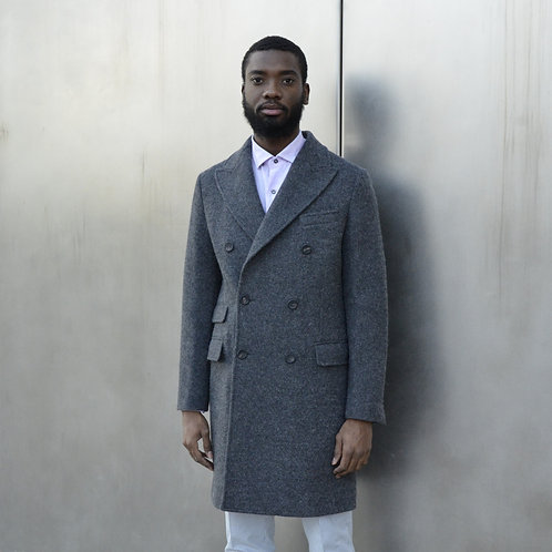 Alpaca Double Breasted Coat in Gray -Modern Fit-