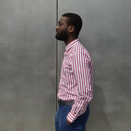 Wide Striped Red Cotton Shirt -Slim Fit-