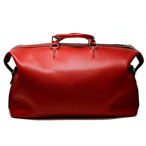Aspen Red Pebbled Leather Duffle Bag