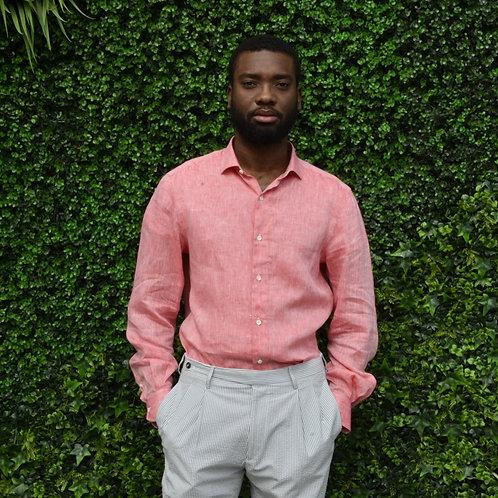 Vibrant Peach Linen Shirt -Comfortable Fit-