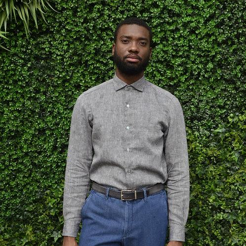 Ash Handsewn Washed Linen Shirt -Modern Fit-