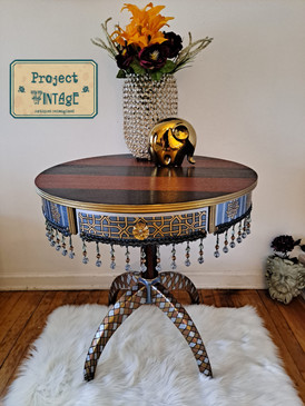 Vintage Drum Table with Dangling beads