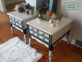 Reimagined Vintage Houndstooth End Tables
