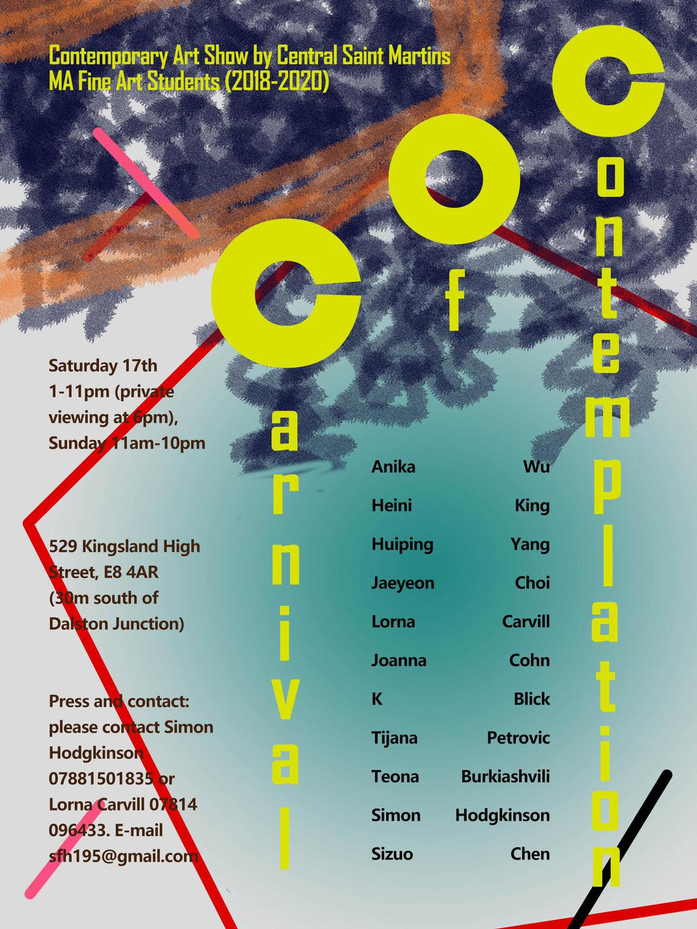 """CSM Pop-up Art show """"Carnival of Contemplation"""", Dalston, Hackney"""