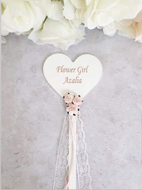 Heart flower girl wand