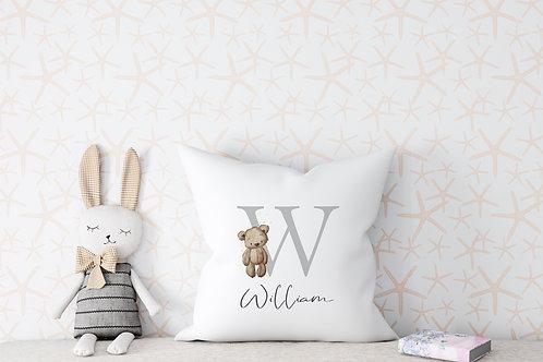 Personalised Teddy Bear Name Cushion