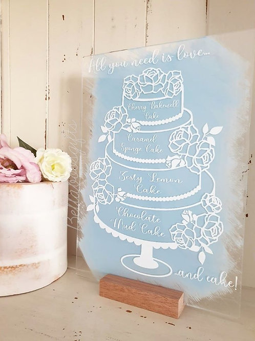 4 Tier cake flavour sign