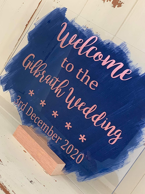 Painted acrylic wedding sign