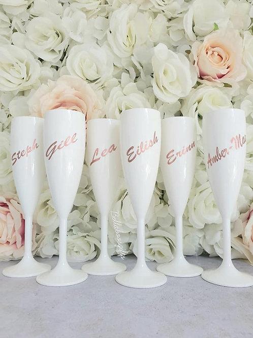 White champagne flutes