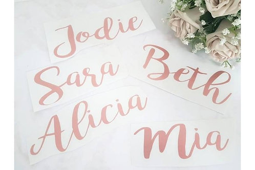 Bridesmaid gift box names VINYL DECAL ONLY
