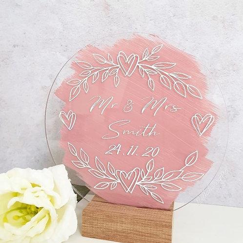 Round acrylic wedding sign