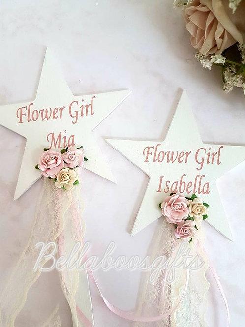 Star shaped flower girl wand